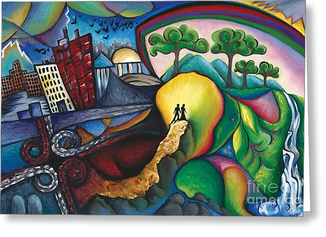 The Path Between City And Country Greeting Card by Tiffany Davis-Rustam