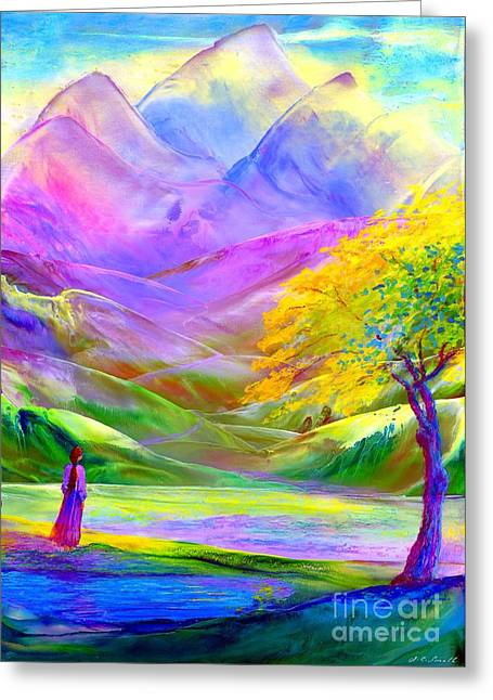 Greeting Card featuring the painting Misty Mountains, Fall Color And Aspens by Jane Small