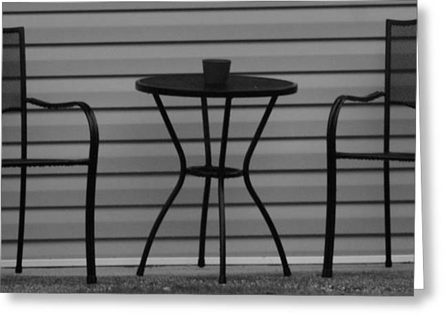 The Patio In Black And White Greeting Card by Rob Hans