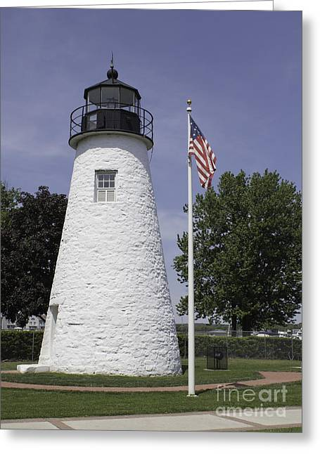 The Patriotic Lighthouse At Concord Point Greeting Card