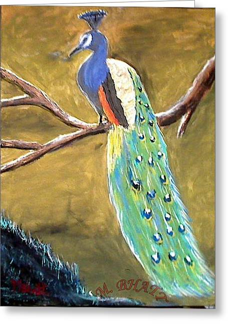 The Peacock-2 Greeting Card by M bhatt