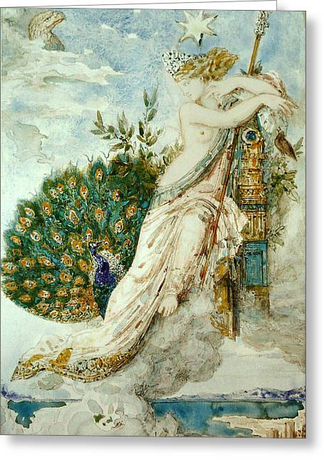 The Peacock Complaining To Juno Greeting Card by Gustave Moreau