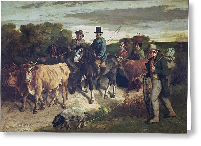 The Peasants Of Flagey Returning From The Fair, 1850-55 Oil On Canvas Greeting Card