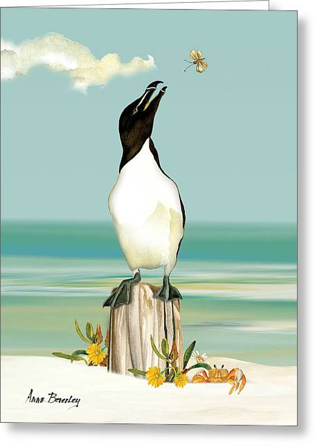 The Penguin Has Landed Greeting Card