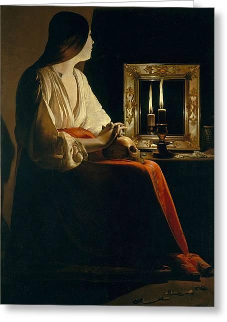 The Penitent Magdalen Greeting Card by Georges de La Tour