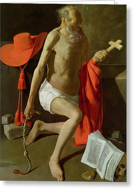 The Penitent St Jerome  Greeting Card by Georges de la Tour