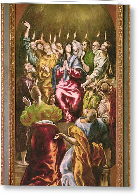 The Pentecost, C.1604-14 Oil On Canvas Greeting Card