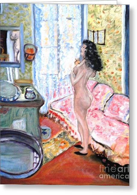 Greeting Card featuring the painting The Perfumed Room by Helena Bebirian