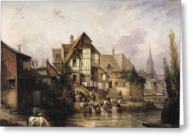 The Petits Murs Wash-house Oil On Canvas Greeting Card by Victor Theophile Tesniere