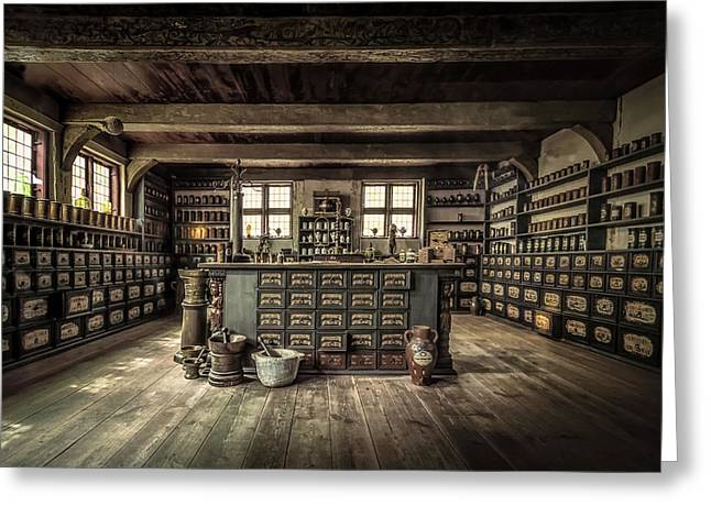 The Pharmacy Greeting Card by Ole Moberg Steffensen