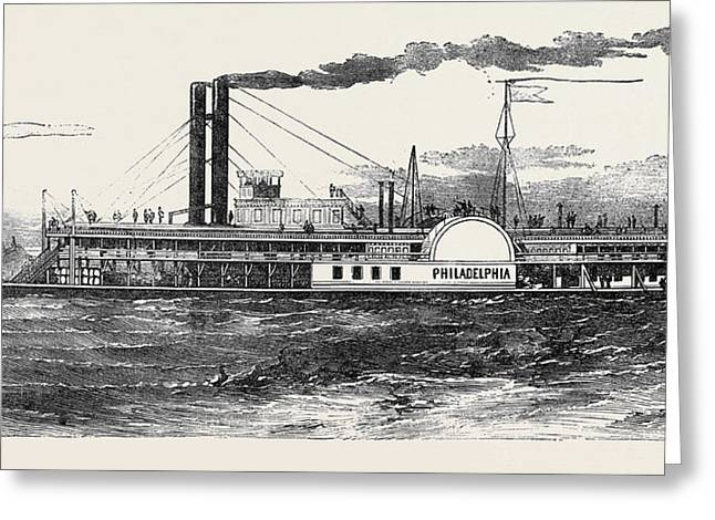 The Philadelphia Mississippi Steamer Greeting Card by English School