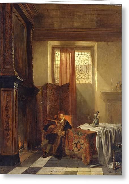 The Philosopher Greeting Card by Hubertus van Hove