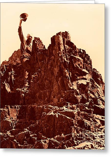 Greeting Card featuring the photograph The Photographer On Pinnacle Peak Early 1900 Era by Eddie Eastwood