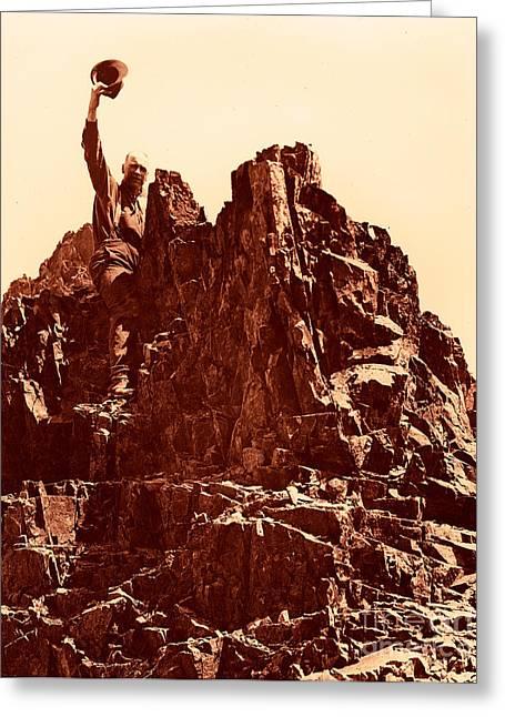 The Photographer On Pinnacle Peak Early 1900 Era Greeting Card by Eddie Eastwood