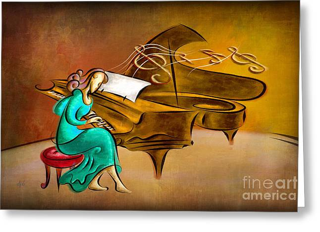 The Pianist Greeting Card by Bedros Awak