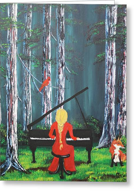 The Pianist In The Woods Greeting Card