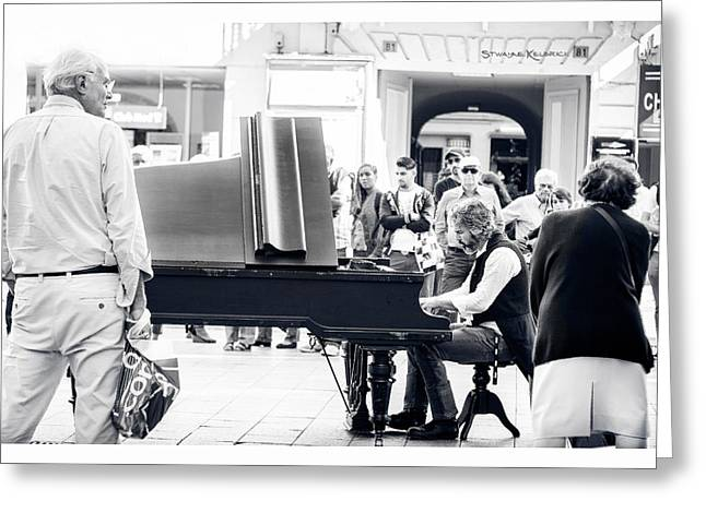 The Pianist Of The High Street Greeting Card by Stwayne Keubrick