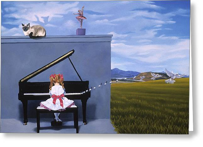 The Piano Player Greeting Card by Michael Bridges