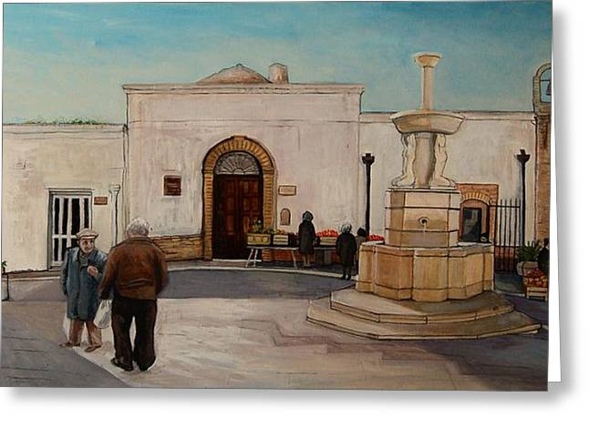 The Piazza Greeting Card by Anne Parker