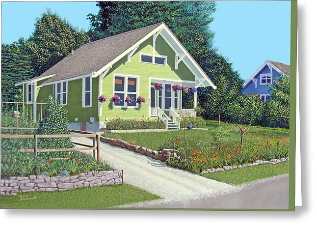 Greeting Card featuring the painting Our Neighbour's House by Gary Giacomelli