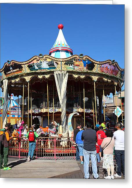 The Pier 39 Carousel And Performers San Francisco California 5d26124 Greeting Card by Wingsdomain Art and Photography