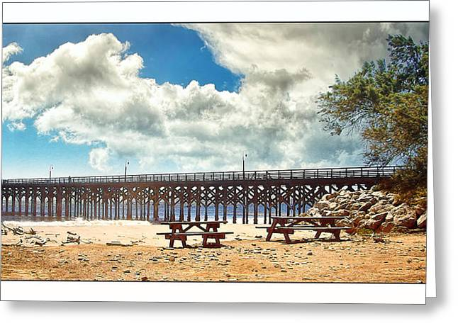 The Pier At Gaviotta Greeting Card by Steve Benefiel