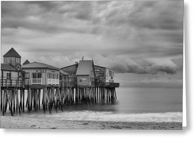 The Pier At Oob Greeting Card by Guy Whiteley