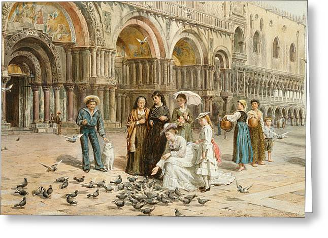 The Pigeons Of St Mark S Greeting Card by George Goodwin Kilburne