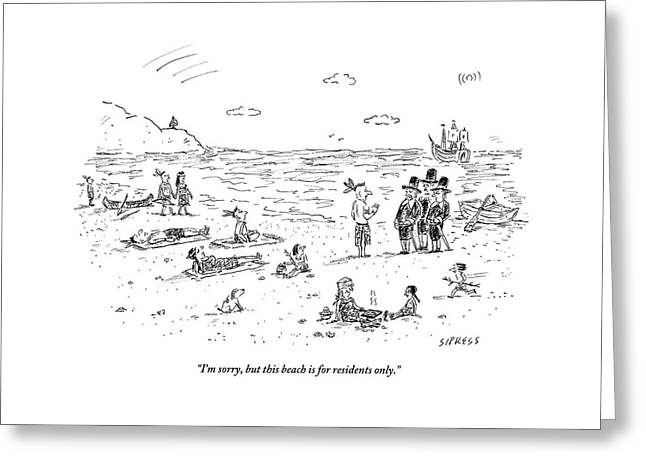 The Pilgrims Arrive At A Native American Beach Greeting Card