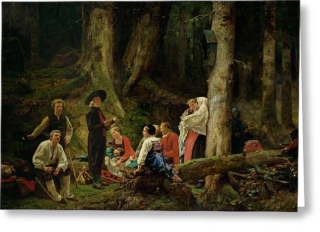 The Pilgrims From The Abbey Of St. Odile Oil On Canvas Greeting Card