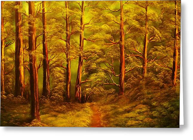 The Pine Tree Forest-original Sold-buy Giclee Print Nr 34 Of Limited Edition Of 40 Prints  Greeting Card by Eddie Michael Beck