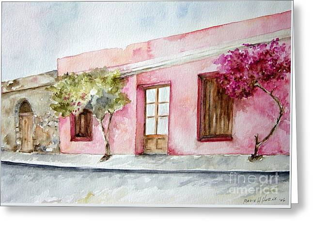 The Pink House In Colonia Greeting Card
