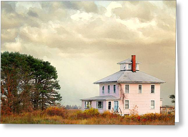 Greeting Card featuring the photograph The Pink House by Karen Lynch