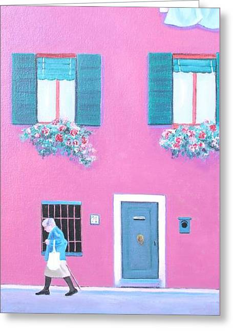 The Pink House With Green Shutters Greeting Card by Jan Matson