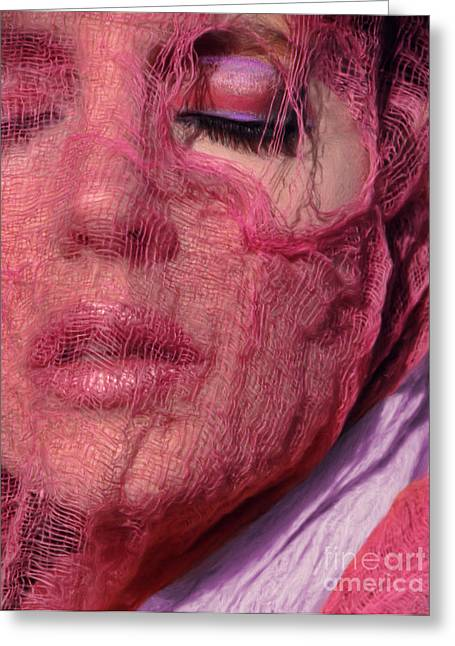 The Pink Scarf Greeting Card by Jeff Breiman