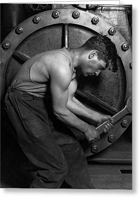 The Pipefitter 2 - Lewis Hine - 1920 Greeting Card by Daniel Hagerman