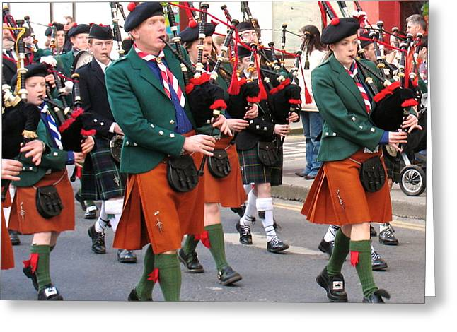 The Pipers Greeting Card by Suzanne Oesterling