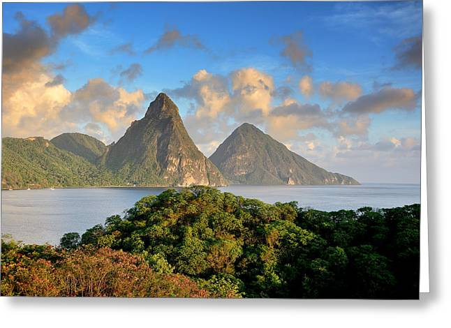 The Pitons - Saint Lucia Greeting Card by Brendan Reals