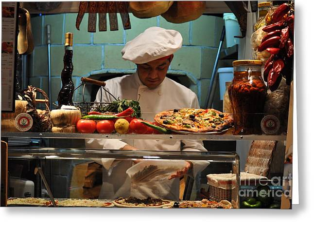 The Pizza Maker Greeting Card by Mary Machare
