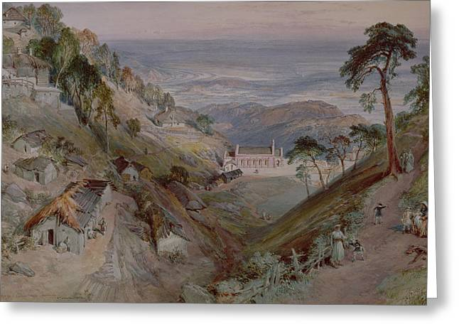 The Plains, Landour Church, Mussoorie, 1884 Wc Greeting Card by William 'Crimea' Simpson