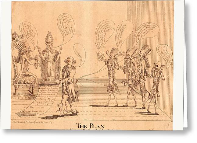 The Plan, Or A Scene In The French Cabinet Greeting Card by English School
