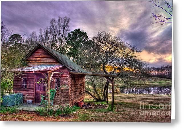 The Play House At Sunset Near Lake Oconee. Greeting Card