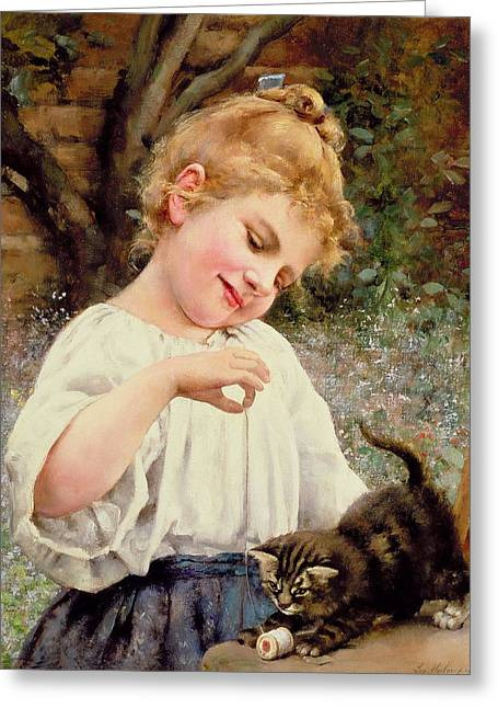 The Playful Kitten Greeting Card by Leo Malempre
