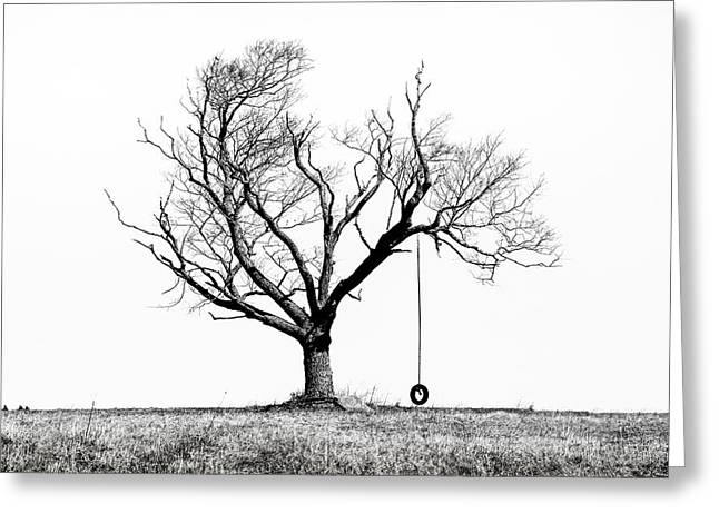 Greeting Card featuring the photograph The Playmate - Old Tree And Tire Swing On An Open Field by Gary Heller
