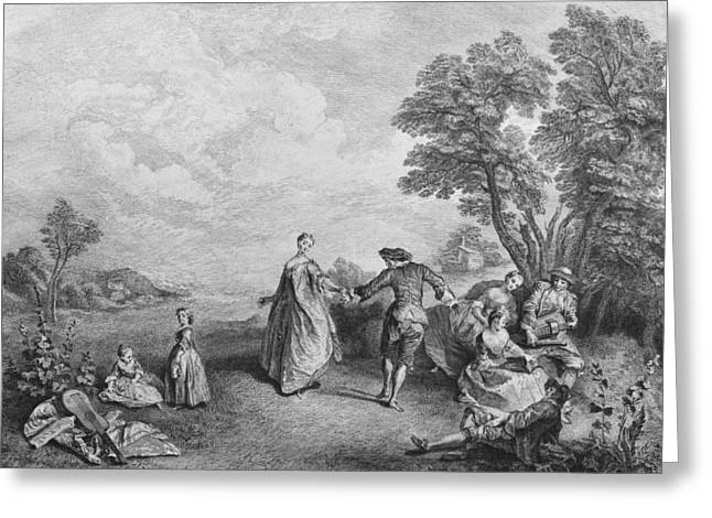 The Pleasures Of The Countryside Greeting Card by Nicolas Lancret