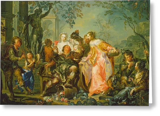 The Pleasures Of The Seasons   Autumn Greeting Card by Johann Georg Platzer