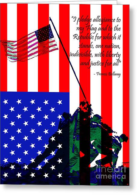 The Pledge Of Allegiance - Iwo Jima 20130210 Greeting Card by Wingsdomain Art and Photography