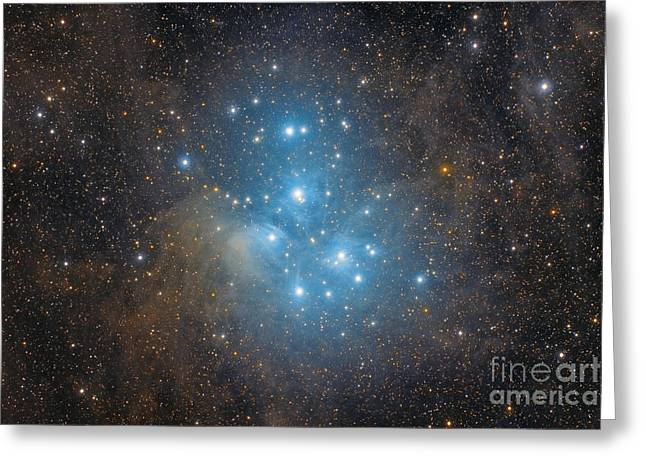 The Pleiades, An Open Star Cluster Greeting Card by Roberto Colombari