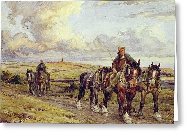 The Plow Team Greeting Card by Joseph Harold Swanwick