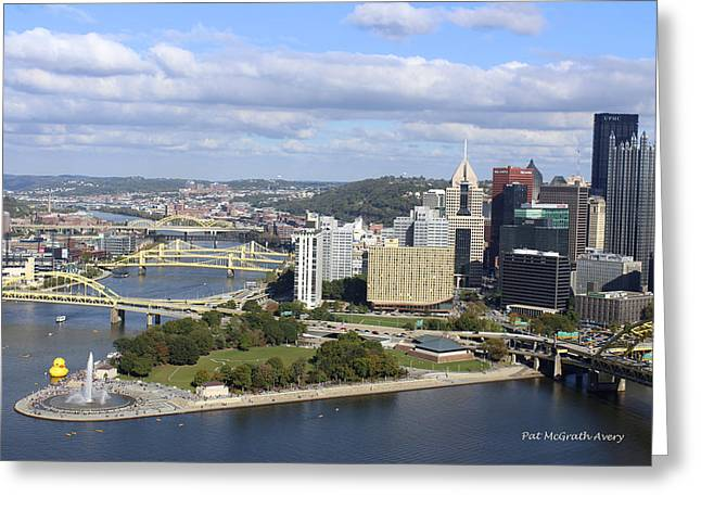 The Point At Pittsburgh Greeting Card by Pat McGrath Avery
